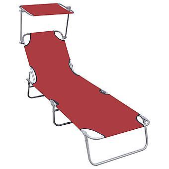 vidaXL sammenleggbar sofa med solbeskyttelse Red Aluminium