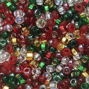 Cuentas de semillas de vidrio checas, ronda 8/0, 1 onza, cubierta The Halls Mix