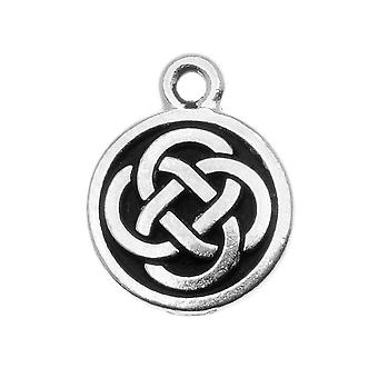 TierraCast Fine Silver Plated Pewter Celtic Round Charm 15mm (1)
