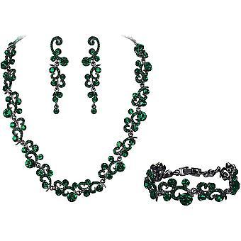 FengChun Damen sterreichische Kristall Hochzeit Blume Welle Halskette Ohrringe Armband Set