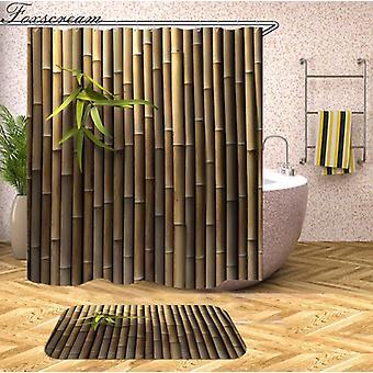 houten 3D douchegordijnen Waterdichte stoffen douchegordijnen met haken badkamergordijn (90 * 180cm)