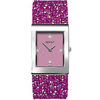 Seksy 2856 Rocks Stone Set Silver & Pink Bracelet Ladies Watch