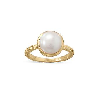 14k Gld Flashed 925 Sterling Silver Cultivado Freshwater Pearl Ring Textured Band Width Measures 1.9mm 10 Jewely Gifts f