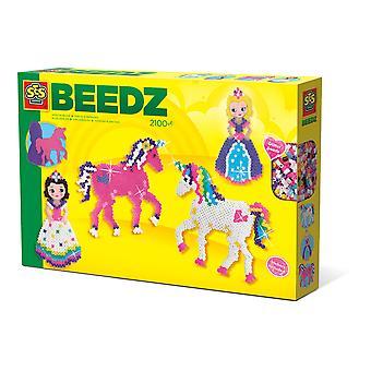 SES Creative - Barnens Beedz Enhörningar och prinsessor Glitter Iron-on Pärlor 5-12 år (Flerfärg)
