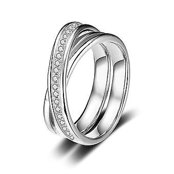 Sterling Silber Ring Zirkonia kreuzförmige Hochzeit Verlobung