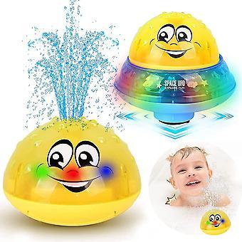 Bath Toys Kids, 2 Indukciós Spray Víz Játék LED Light Musical (sárga)