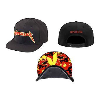 Metallica gorra béisbol en el logo de la banda de fuego nuevo snapback oficial negro