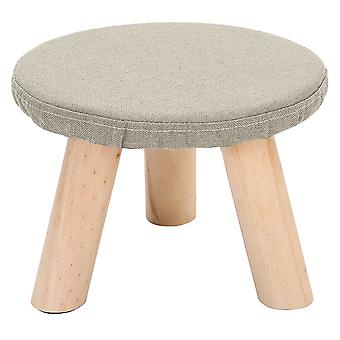 Fabric Footstool with Wooden Legs