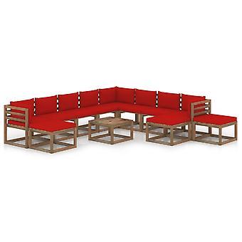 vidaXL 12 pcs. Garden Lounge Set with Cushion Red