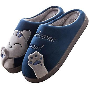 Cute Cat Slippers Indoor Winter Loafer Anti-slip Shoes For Women Men