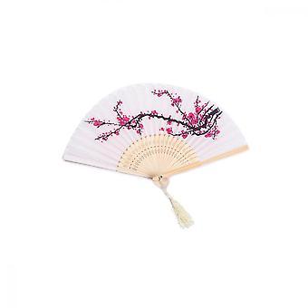 Vouwen ventilator, hand gehouden zijden doek plum bamboe fans voor wanddecoratie geschenken