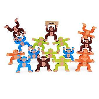 Wooden multicolor monkey balance block