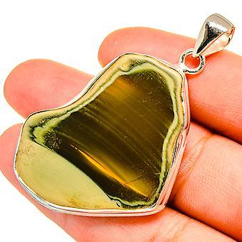 "Willow Creek Jasper Pendant 1 3/4"" (925 Sterling Silver)  - Handmade Boho Vintage Jewelry PD8952"