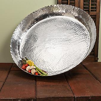 Round Silver Hammered Tray