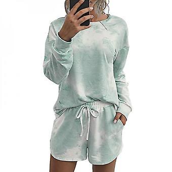 Women Tie Dye Top T-shirt Shorts Set Loungewear