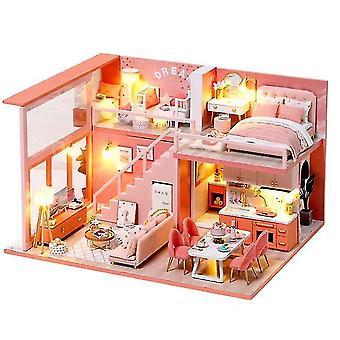 Diy Puppenhaus Holzpuppe Häuser Miniatur Puppenhaus Möbel Kit Spielzeug Casa für Kinder Weihnachten