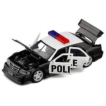 Qian Niño Juguete Policía Coche 1/32 Mercedesbenz Clase C Aleación Modelo Coche de Carreras Coches (negro)