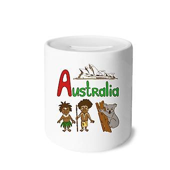 أستراليا الرمز الوطني طباعة السيراميك الخنزير البنك