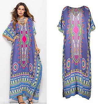 Plus storlek skriva ut mode klänning strand kjol