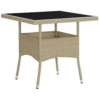 Chunhelife Table à manger en plein air Poly rotin beige et verre