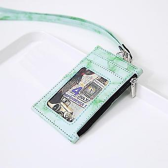 (Green)Badge Holder Marble Pu Leather 4 Slots With Zip Pocket - 4 Colors Option
