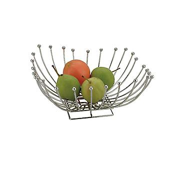 Chrome Metal Square Shape Fruit Basket Table Decoration 30cm
