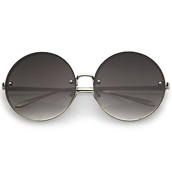 Oversize Rimless Slim Metal Temple Neutral Colored Flat Lens Round Sunglasses 65mm