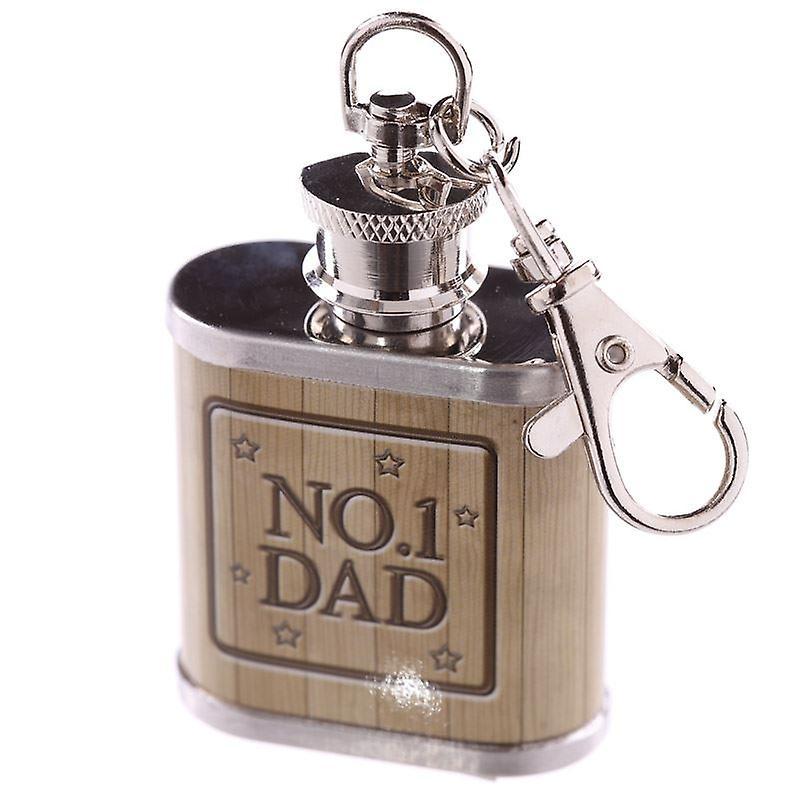 1oz Stainless Steel Hip Flask Keyring - No 1 Dad