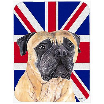 Mastiff with English Union Jack British Flag Glass Cutting Board Large Size