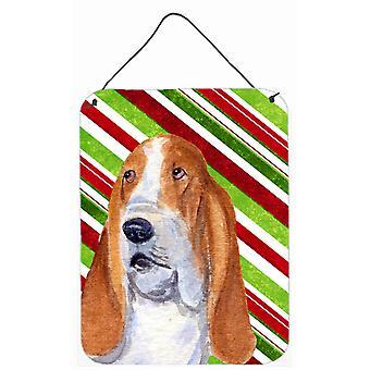Basset Hound tikkukaramelli Holiday joulua läpäisemätön roikkuu tulostaa