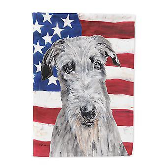 Scottish Deerhound with American Flag USA Flag Garden Size