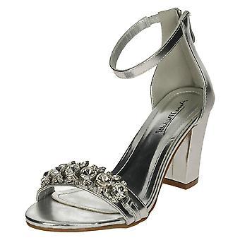 Dames Anne Michelle Jewel Trim Sandals - zilver Metallic - UK Size 4 - EU grootte 37 - US maat 6