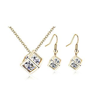 Womens Gold Cube Necklace And Earrings Set Crystal Stones