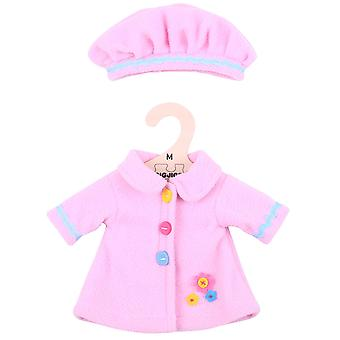Bigjigs Toys Pink Rag Doll Coat & Hat (34cm) Doll Clothing Outfit
