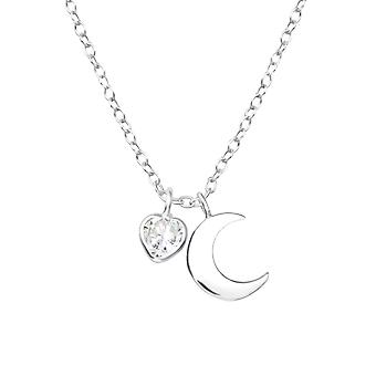 Moon - 925 Sterling hopea Jewelled kaulakorut - W35559x
