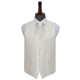 Avorio Solido controllo matrimonio Waistcoat & Cravat Set