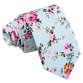 Mint Green Floral Primrose Cotton Slim Tie