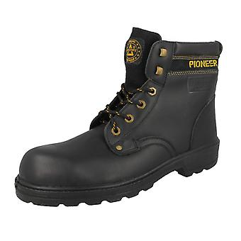 Ladies/Mens Totectors Black Leather Steel Toe Cap Derby Style Boots