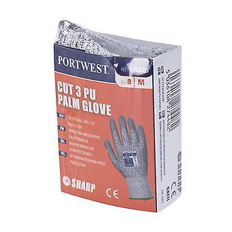 Portwest - 1 Pair Pack Cut 3 Resist PU Palm Hand Protection Glove