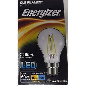 1 x Energizer 6.2W = 60W filamento LED GLS bombilla lámpara Vintage BC B22 clara bayoneta [clase energética A +]