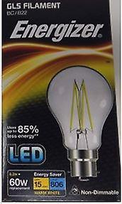1 X Energizer 6.2W = 60W LED Filament GLS Light Bulb Lamp Vintage BC B22 Clear Bayonet[Energy Class A+]