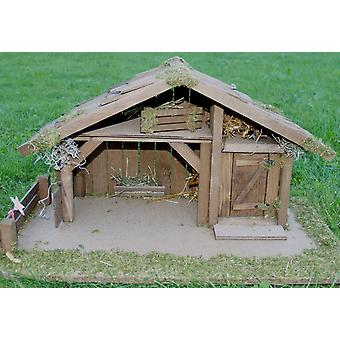 Crib Nativity scene wood Nativity stable ELIAS XXL handmade for characters up to 18 cm