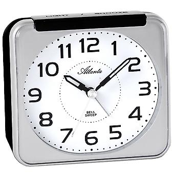 Alarm clock quartz analog silver quietly without ticking with light Snooze