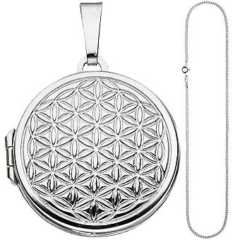 Medallion round flower of life pendant to open 925 Silver necklace 50 cm