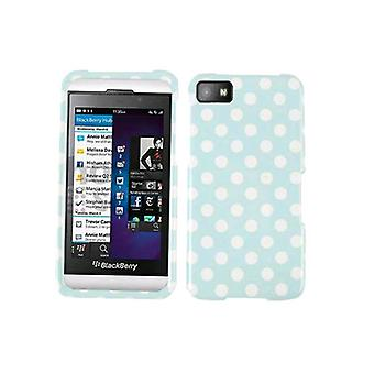 Generisches Snap On Faceplate Protector Case für Blackberry Z10 - White Dots on Light Blue