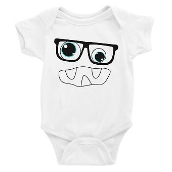 Monster With Glasses Baby Bodysuit Gift White