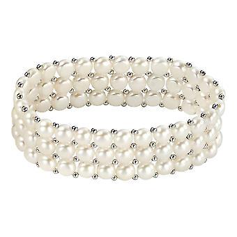Elementer sølv ferskvann perle tre Strand små Stretch armbånd - sølv/hvit