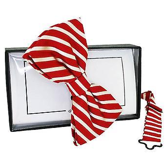 David Van Hagen Striped Silk Bow Tie - Red/White