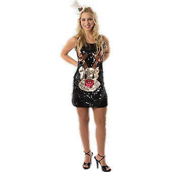Womens Black Sequin Rudolph Reindeer Christmas Party Fancy Dress Costume