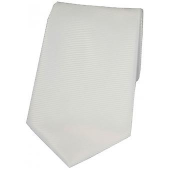 David Van Hagen Horizontal Ribbed Polyester Tie - White